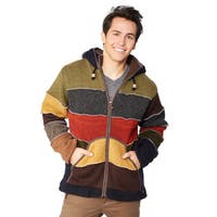 Laundromat Men's Multicolored Wool Patchwork Sweater with Hood
