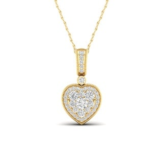 De Couer 10k Yellow Gold 1/3ct TDW Diamond Cluster Heart Necklace (H-I, I2)