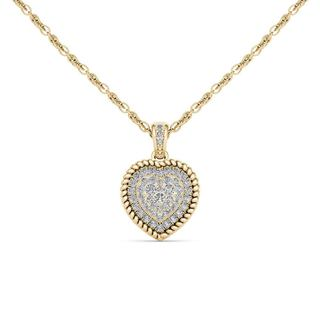 De Couer 10k Yellow Gold 1/4ct TDW Diamond Cluster Heart Necklace