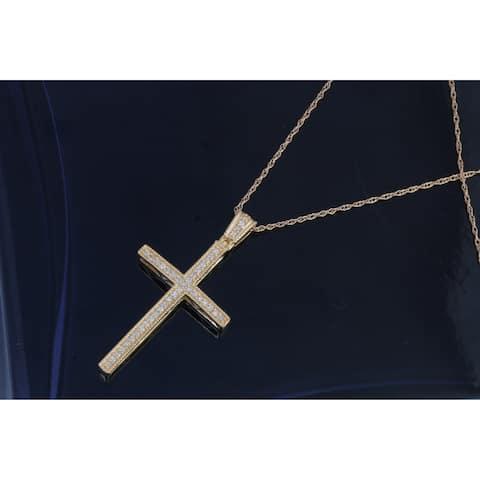 De Couer IGI Certified 10k Yellow Gold 1/6ct TDW Diamond Cross Necklace