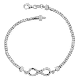 Argento Italia Rhodium Plated Sterling Silver Square Python Link Infinity Bracelet