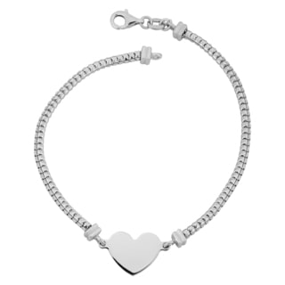 Argento Italia Rhodium Plated Sterling Silver Square Python Link Heart Bracelet