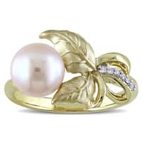 Laura Ashley 10k Yellow Gold Freshwater Pearl and Diamond Accent Leaf Ring (8 - 8.5 mm)