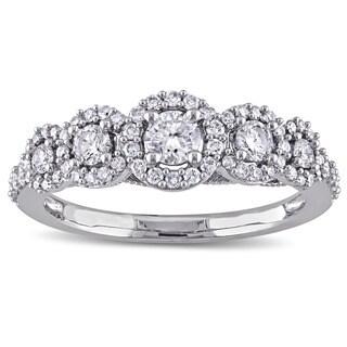 Laura Ashley 10k White Gold 3/4ct TDW Diamond Milgrain Detail Bridal Ring