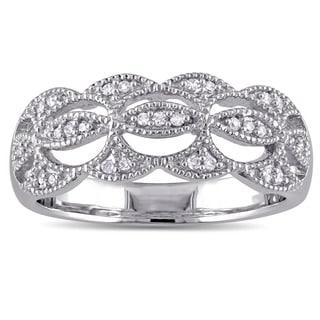 Laura Ashley 10k White Gold 1 /10ct TDW Diamond Milgrain Detail Wavy Bridal Ring (G-H, I2-I3)