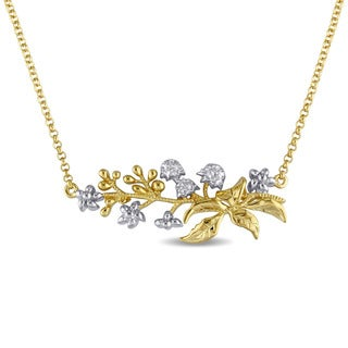 Laura Ashley Yellow Plated Sterling Silver 2-Tone Floral Branch Necklace