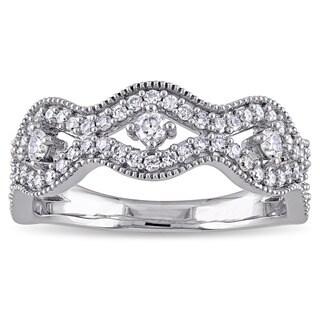 Laura Ashley 10k White Gold 1 /2ct TDW Diamond Milgrain Detail Wavy Anniversary Ring (G-H, I2-I3)