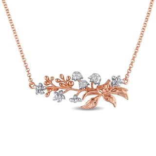 Laura Ashley Rose Plated Sterling Silver Floral Branch Necklace