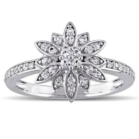 Laura Ashley Sterling Silver White Sapphire Flower Ring