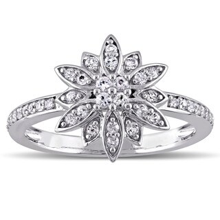 Laura Ashley Sterling Silver White Sapphire Flower Ring