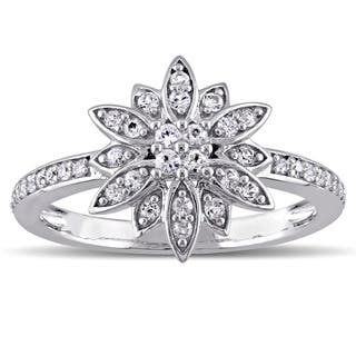 Laura Ashley Sterling Silver White Sapphire Flower Ring|https://ak1.ostkcdn.com/images/products/12174524/P19025619.jpg?impolicy=medium