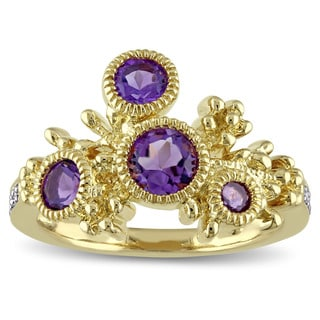 Laura Ashley Yellow Plated Sterling Silver Diamond Accent and Amethyst Floral Filigree Branch Ring