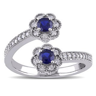 Laura Ashley 10k White Gold 1/5ct TDW Diamond and Created Blue Sapphire Flower Split Ring