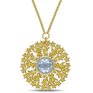 Laura Ashley Yellow Plated Sterling Silver 1/8ct TDW Diamond and Sky Blue Topaz Round Filigree Necklace (G-H, I2-I3)