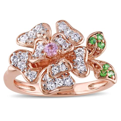 Laura Ashley Rose Plated Sterling Silver White and Pink Sapphire Tsavorite Flower Ring