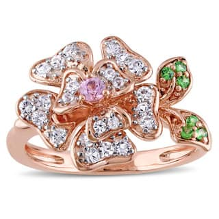 Laura Ashley Rose Plated Sterling Silver White and Pink Sapphire Tsavorite Flower Ring|https://ak1.ostkcdn.com/images/products/12174532/P19025620.jpg?impolicy=medium