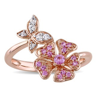 Laura Ashley Rose Plated Sterling Silver Pink and White Sapphire Flower and Butterfly Ring