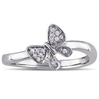 Laura Ashley Sterling Silver Diamond Accent Bow Ring