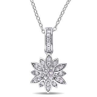 Laura Ashley Sterling Silver White Sapphire Flower Necklace