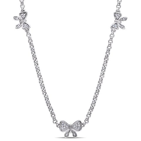 Laura Ashley Sterling Silver 1/10ct TDW Diamond Three Bow Necklace - White