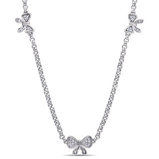 Laura Ashley Sterling Silver 1/10ct TDW Diamond Three Bow Necklace