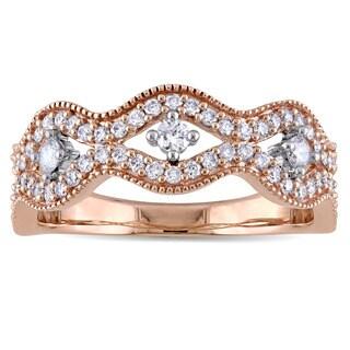 Laura Ashley 10k Rose Gold 1/2ct TDW Diamond Wavy Ring (G-H, I2-I3)