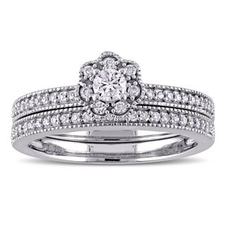 Laura Ashley 10k White Gold 2/5ct TDW Diamond Flower Bridal Ring Set (G-H, I2-I3)