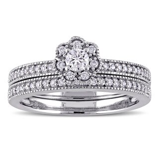 Laura Ashley 10k White Gold 2/5ct TDW Diamond Flower Bridal Ring Set