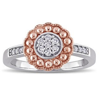 Laura Ashley 10k Rose and White Gold 1/7ct TDW Diamond Engagement Ring (G-H, I2-I3)