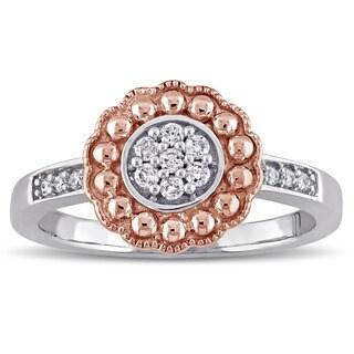 Laura Ashley 10k Rose and White Gold 1/7ct TDW Diamond Engagement Ring