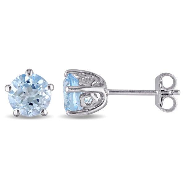Laura Ashley Sterling Silver Blue Topaz Stud Earrings