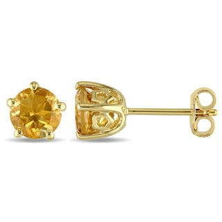Laura Ashley Yellow Plated Sterling Silver Citrine Stud Earrings