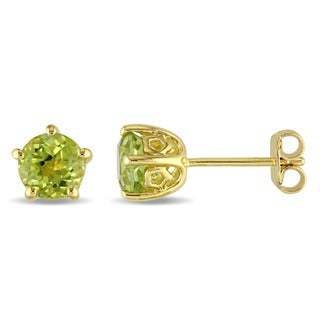 Laura Ashley Yellow Plated Sterling Silver Peridot Stud Earrings