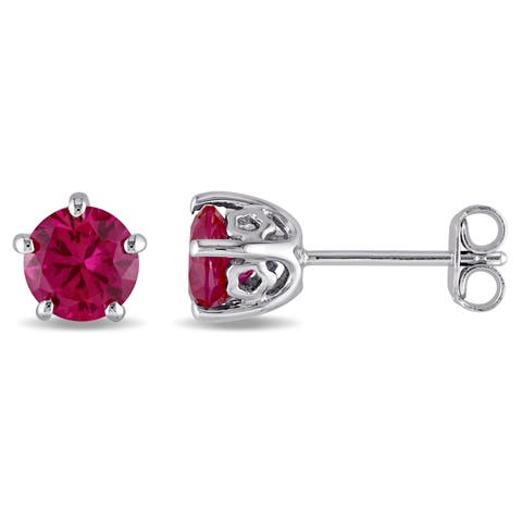 Laura Ashley Sterling Silver Created Ruby Stud Earrings