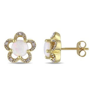 Laura Ashley 10k Yellow Gold Diamond Accent and Opal Flower Stud Earrings