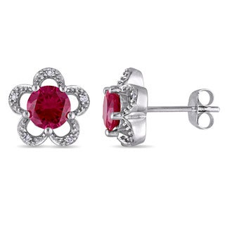Laura Ashley 10k White Gold Diamond Accent and Created Ruby Flower Stud Earrings