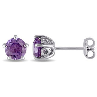 Laura Ashley Sterling Silver Created Alexandrite Stud Earrings