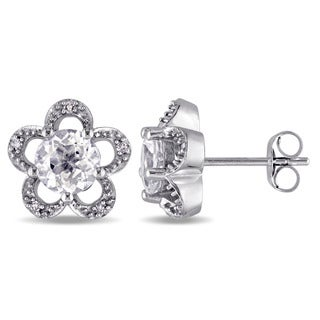 Laura Ashley 10k White Gold Diamond Accent and White Topaz Sky Flower Stud Earrings