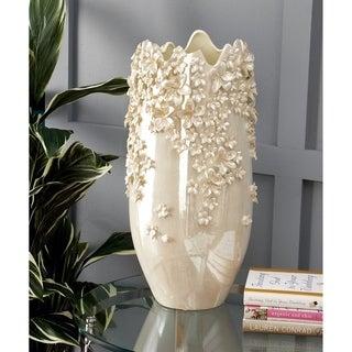 White Ceramic 19-inch High x 10-inch Wide 3D Applique Vase