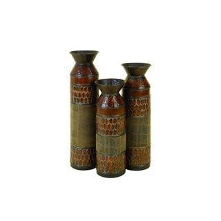 Set of 3 Animal Textured Metal Vases