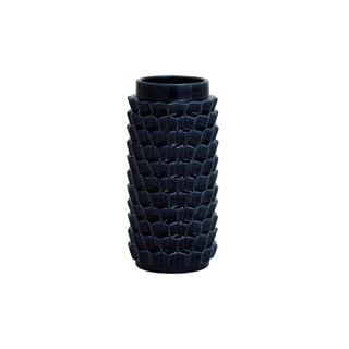 Polished Midnight Navy Crackled Ceramic 14-inch High x 7-inch Wide Vase