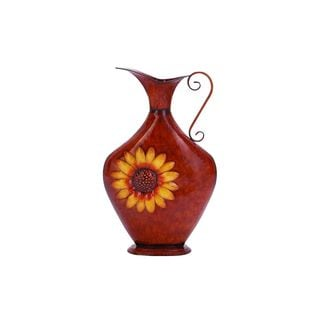 Red/Yellow Metal 24-inch High x 15-inch Wide Vase