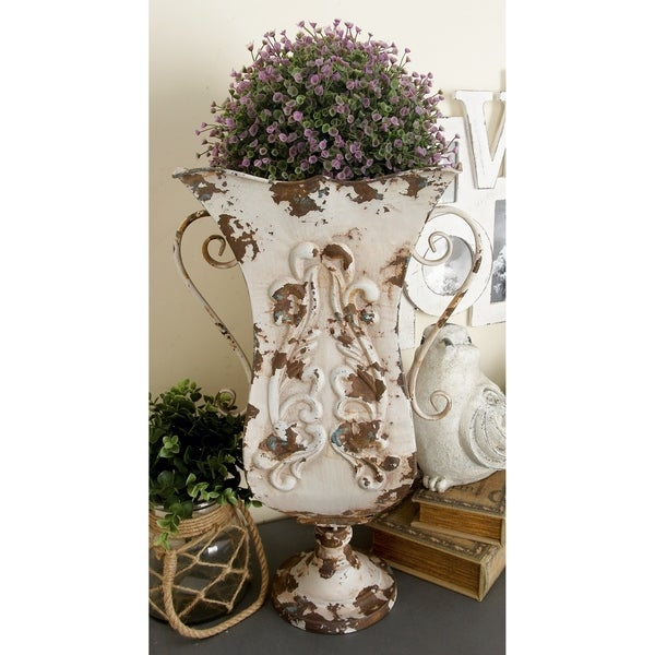 French Country 13-inch Wide x 21-inch High Iron Urn Planter Vase. Opens flyout.
