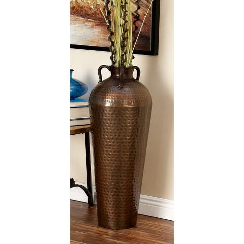 Hammered Bronze Metal Flower Vase