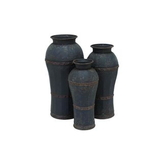 Brown/Green Iron 37-inches, 33-inches, and 29-inches High Metal Vases (Pack of 3)