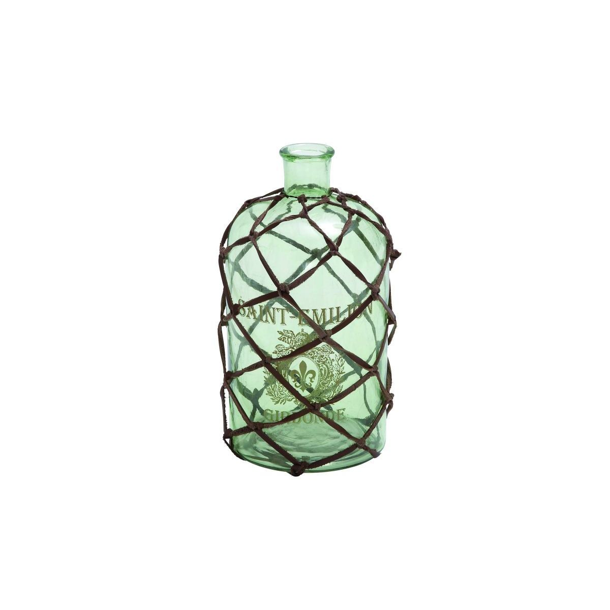 Glass Leather 6-inches Wide x 10-inches High Bottle Vase (GLASS LTHR BOTTLE VASE 6W, 10H)