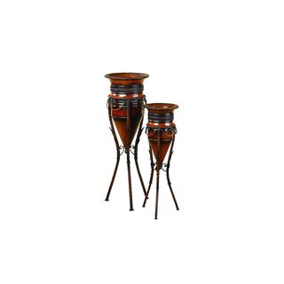 The Curated Nomad Belli Metal Vases with Stands (Set of 2)