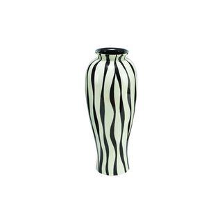 Black/White Polysone 28-inches High x 12-inches Wide Lacquer Zebra Vase