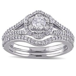 Laura Ashley 10k White Gold 5/8 ct TDW Diamond Milgrain Detail Split Shank Bridal Engagement Ring Set (G-H, I2-I3) (More options available)
