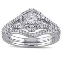 Laura Ashley 10k White Gold 5/8 ct TDW Diamond Milgrain Detail Split Shank Bridal Engagement Ring Set (G-H, I2-I3)
